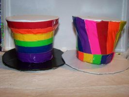 Both Rainbow Duct Tape Hats by Mitsukai-freak-527