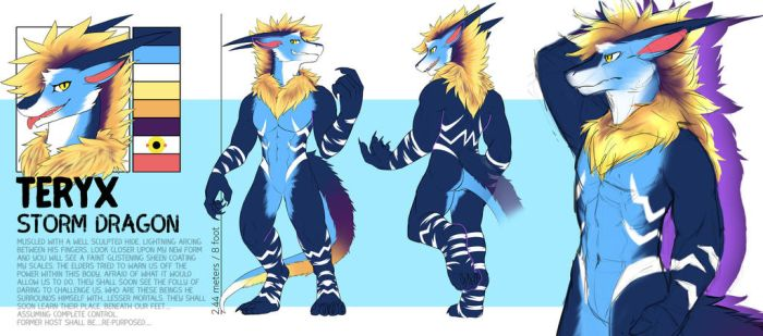 [Kinniro] Anthro Storm Dragon Reference by teryxc