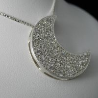 Crescent Moon Pave' Pendant by camias