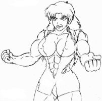 Misato Hulks Out-Pencil Sketch by OrionPax09