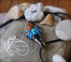 Green Bottle Blue Pendant : by NadilynBeato