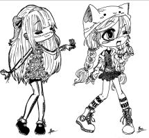 Cute girls 1 - Not coloured. by LollyAngel-s2