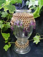 purple drops on brass maille vase by BacktoEarthCreations