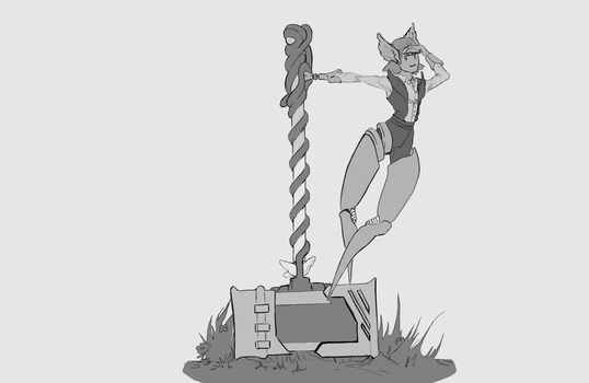 RomanGreek Hammer Robot girl Art 02 by sirMizer