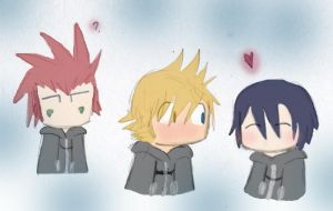 Roxas, Xion and Axel by keyblade-master-sara