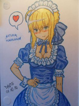 Arturia Pendragon Maid by Dante-Night-Hunter