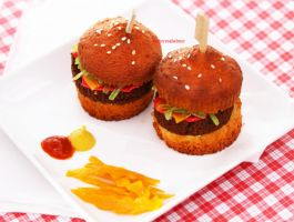 Hamburger Slider Cupcakes by theresahelmer