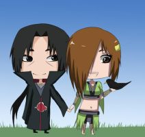 AT: Itachi and Lavidel Chibi by Chloeeh
