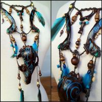 Blue Moon Fox Spirit Necklace by Elorhan
