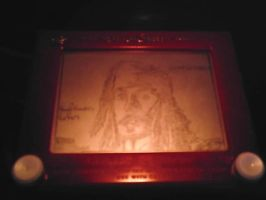 Johnny Depp etchasketch by pikajane