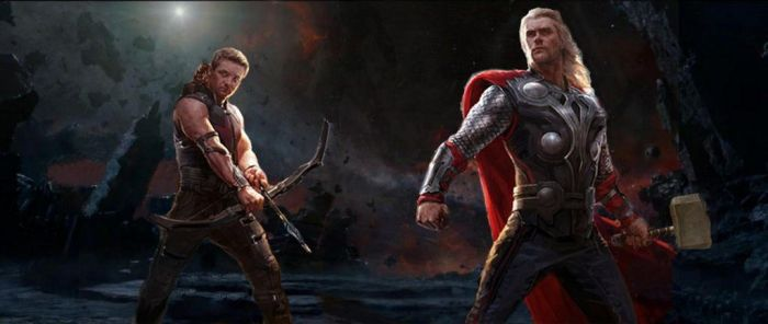 Hawkeye and Thor in the abyss. by HelloBlueMeetsGreen