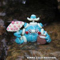 Polymer Clay Robot I Love the Beach Figurine by KIMMIESCLAYKREATIONS