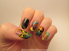 Watermarble Experiments Nails by QueenAliceOfAwesome