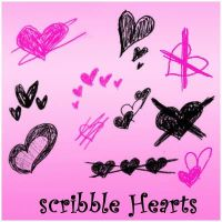 Scribble Hearts by Red--Roses