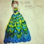 Peacock feather dress design by Lbubbly12