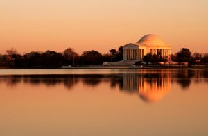 Sunset Jefferson Memorial by jdmimages