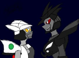 Stare Down Prowl and Barricade by SonicGal390
