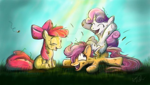 Cutie Mark Crusaders play in a field by Mad--Munchkin