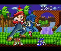 Mario Vs Sonic by AngelCrusher