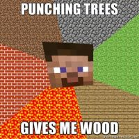 Punching trees in minecraft by YourAFarie
