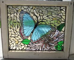 butterfly mosaic window by reflectionsshattered