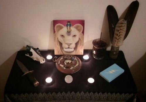 October 2016 Full Moon Altar by ManitouWolf