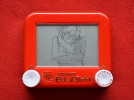 Rodin's Eve etch a sketch by pikajane