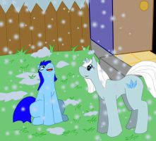 snowflakes at the backyard on color by MaxSilverfox