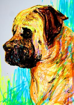 Highlighter drawing of a dog by calvincrimson