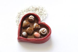 Box of Chocolates Miniature Necklace, Polymer Clay by ChroniclesOfKate