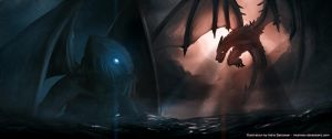 Cthulhu VS Dragon by Intelman