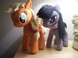 Octavia and Applejack Plushie by EquestriaPaintings