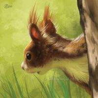 Squirrel On Tree - SpeedPaint by GoldenDruid