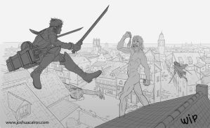 Shingeki no Kyojin fan art line WIP by 1oshuart