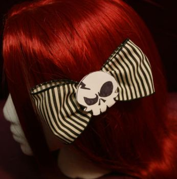 Striped Skull Bow by MasqueradeDreams