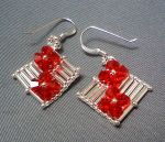 Red Crystal Flower Earrings by beadg1rl