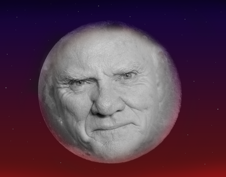 Malcolm McDowell as The Moon by stevemacqwark