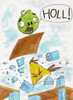 Angry Birds: Green Pig falling by IntoxicaVampire