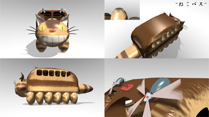 Catbus from Totoro in 3d by ChocoKobato
