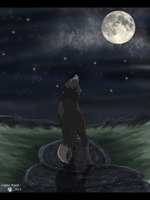 *Talking To The Moon* Art Trade by LupusAvani