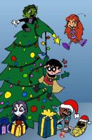 Teen Titans Christmas by LibraryNinja