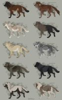 Semi-Realistic Wolf Adoptables Set 10 - CLOSED by Therbis