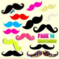Pack 14 Mostachos by PinkMoustache