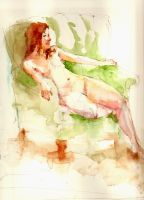 Watercolor: Girl Sitting by jia-jia