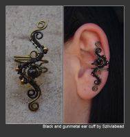 black and gunmetal ear cuff by bodaszilvia