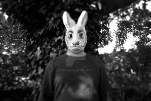 A-Level Photography - Black + White Rabbit Mask by NaturallyJade3