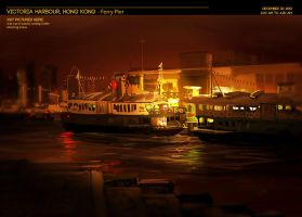 Hong Kong: Victoria Harbour Ferry Pier by rubendevela