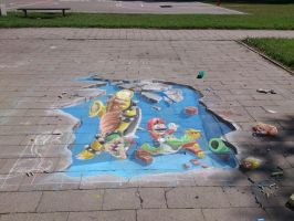 Super mario chalk art 3D (Mario winns) by Saules-dievas