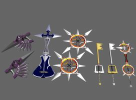 Kingdom Hearts II Weapons by Ajemsuhgao