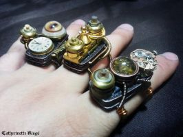 Steampunk Rings by CatherinetteRings